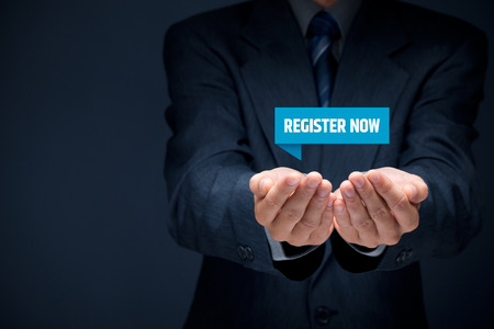 joining services: Register now concept. Businessman hold virtual label with text register now.