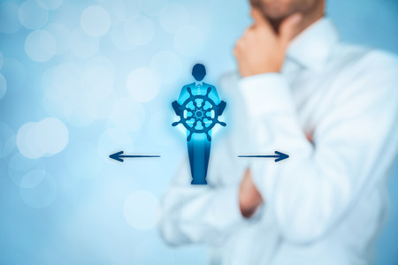 symbolized: Decision making (managerial concept) – select the best business way (opportunity, strategy, management) symbolized by captain with helm. Stock Photo