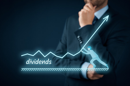 stockholder: Increase dividends concept. Shareholder plan (predict) dividends growth represented by graph. Stock Photo