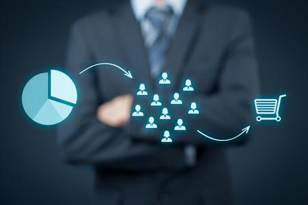 Marketing-Positionierung und Marketing-Strategie? Segmentierung, die Ausrichtung und Positionierung. Visualisierung der Positionierung im Markt und ähnliche Situationen auf dem Markt.