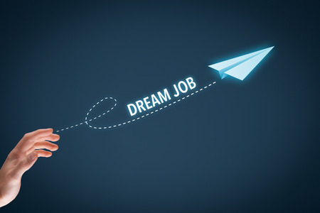 dream job: Dream about the best job concept. Manager throw a paper plane symbolizing dream job.