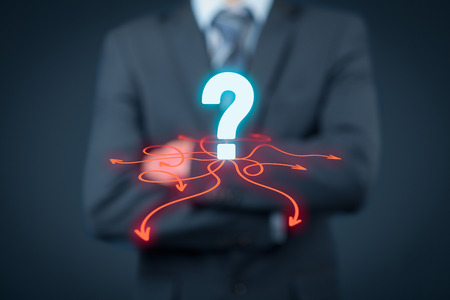 Decision making (management decisions) - select the best business way (direction) to future. Stock Photo