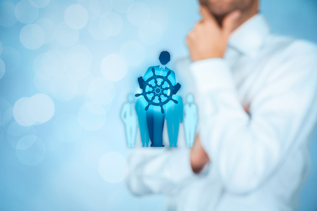 symbolized: Decision making (managerial concept) – select the best business way (opportunity, strategy, management) symbolized by captain with helm.