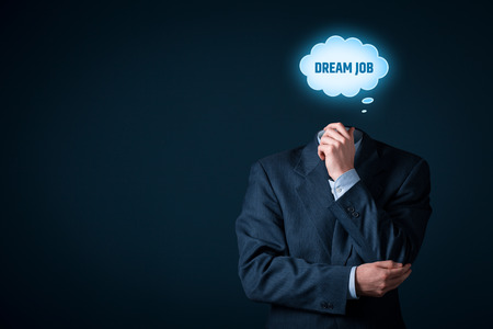 dream vision: Dream job concept. Manager think about dream job and how to get it.