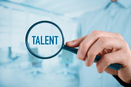 talent: Talent needed - human resources concept. Recruiter looking for (search) talented employees.