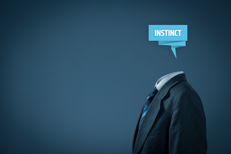 insightful: Successful manager has business instinct. Businessman with label representing brain and text instinct.  Stock Photo