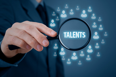 talented: Human resources or headhunter search talented programmers and software developers. Stock Photo