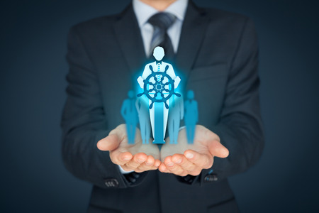 successor: Captain as metaphor of influential team leader and manager with mission. Business leading concept. Stock Photo