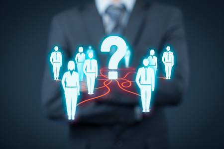 to think about: Human resources officer think about employees. FAQ and customer care concept.