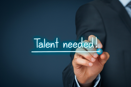 skill: Talent needed - human resources concept. Recruiter looking for (search) talented employees.