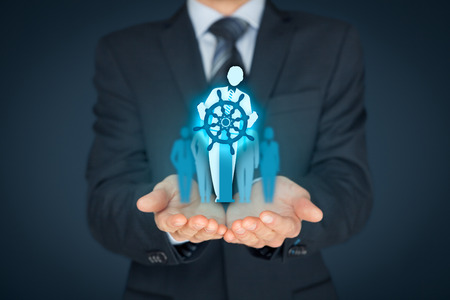 change direction: Business improvement and development concept. Captain (symbol of team leader) change direction to improve company performance. Stock Photo