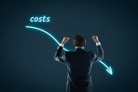 Costs reduction, costs cut, costs optimization business concept. Businessman celebrate reduced costs.