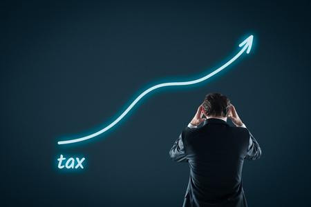 incremento: Concepto cada vez mayor presión fiscal. El hombre de negocios se siente frustrado por la creciente de impuestos.