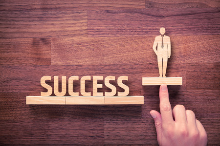 Successful manager has business success. Businessman with intuition has potential to growth.