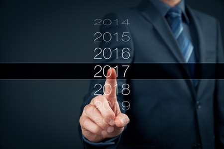 Businessman welcome year 2017. Business new year card concept. Stock Photo - 62208419