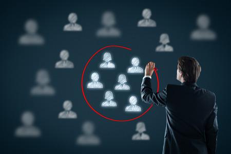 Marketing segmentation, customers care, customer relationship management (CRM), target audience, target market, target segment and team building concepts.
