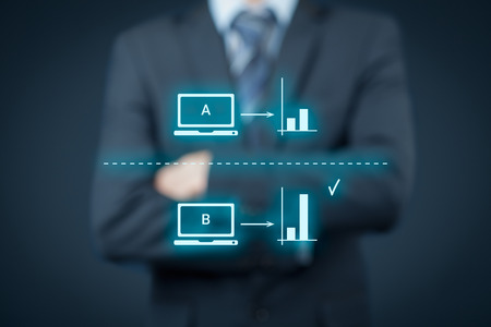 specialist: AB split testing concept. Marketing or SEO specialist think about AB split testing. Stock Photo