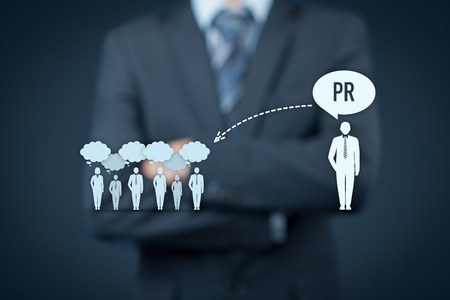 Public relations (PR) concept. Businessman think about PR services (public relations) and its impact to public.