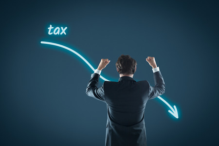 reduce taxes: Tax optimization business concept. Businessman celebrate reduced tax.