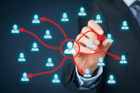 マネージャーは、別のチームの労働者に作業を委任します。委任経営コンセプト。