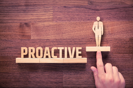 Proactive businessman concept. Coach helps manager to growth with proactivity application.