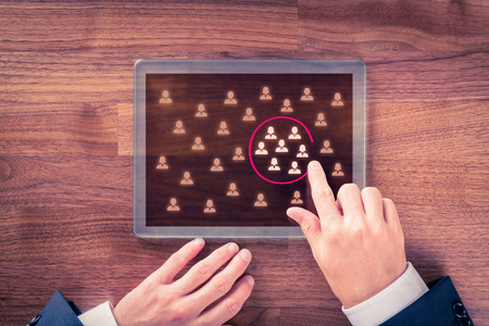 teambuilding: Target audience, market segmentation, customers care, customer relationship management (CRM) and team building concepts. Stock Photo