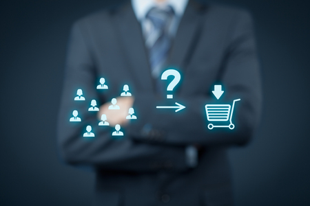 consumer: Consumer behavior analysis concept. Businessman analyze if customers will buy product.