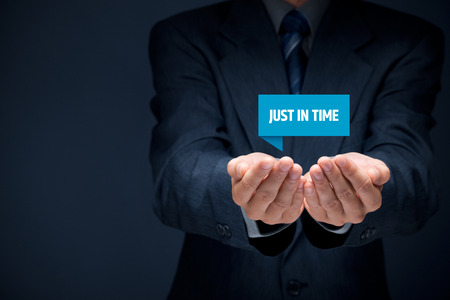 eliminating: Just in time (JIT) demand (pull) driven inventory system. Stock Photo