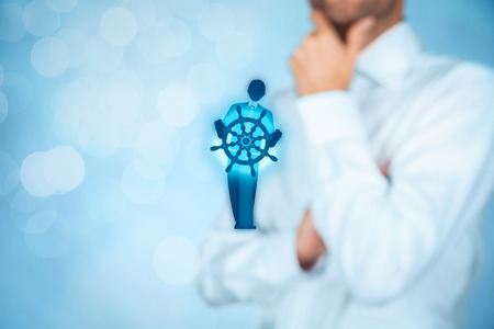 business direction: Business improvement and development concept. Captain (symbol of team leader) change direction to improve company performance. Stock Photo