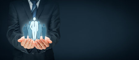 Teamleiter, Beeinflusser, Meinungsführer, CEO, Marktführer und weitere Business-Leitkonzepte. Links breite Bannerzusammensetzung. Standard-Bild