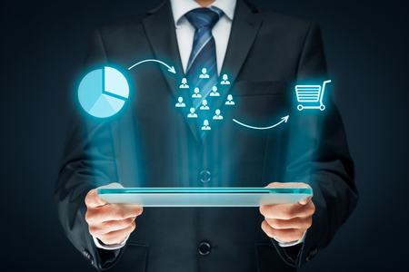 marketshare: Marketing positioning and marketing strategy - segmentation, targeting, and positioning. Visualization of marketing positioning and similar situations on market. Stock Photo