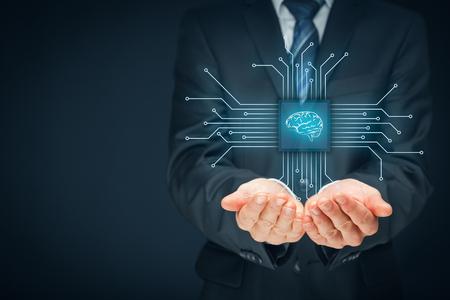 인공 지능 (AI), 데이터 마이닝, 전문가 시스템 소프트웨어, 유전 프로그래밍, 기계 학습, 신경 네트워크, 나노 기술 및 다른 현대 기술 개념. 권리 구성. 스톡 콘텐츠