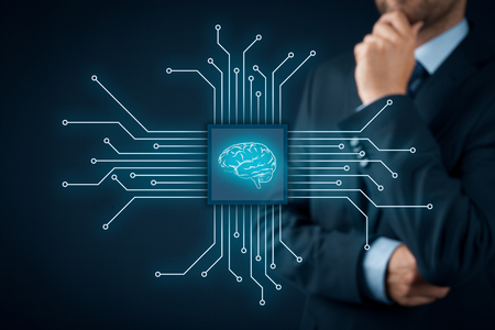 Artificial intelligence (AI), data mining, expert system software, genetic programming, machine learning, neural networks, nanotechnologies and another modern technologies concepts. Foto de archivo