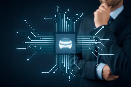 coche inteligente, vehículo inteligente y coches concepto inteligente. Símbolo del coche y la comunicación inalámbrica. viruta abstracto con símbolo del automóvil conectado con dispositivos abstractos representados por puntos. Foto de archivo
