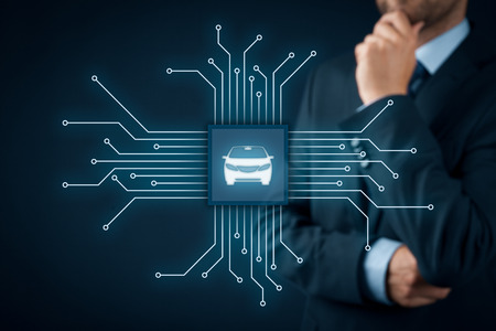 Intelligent car, intelligent vehicle and smart cars concept. Symbol of the car and wireless communication. Abstract chip with symbol of the car connected with abstract devices represented by points. Banco de Imagens
