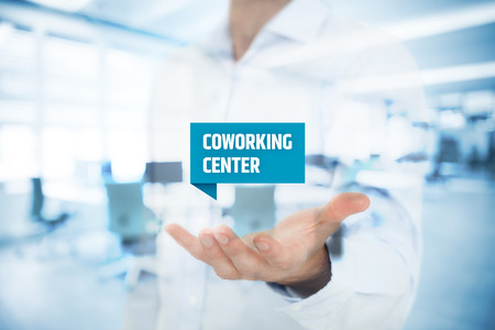 freelancers: Businessman offer coworking center – modern solution of working environment for freelancers and small start-up companies.