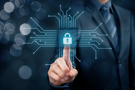 Information technology devices security concept. Businessman click on button in simplified design of chip, connected with abstract devices represented by points.