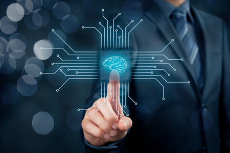 Artificial intelligence (AI), data mining, expert system software, genetic programming, machine learning, neural networks, nanotechnologies and another modern technologies concepts. Archivio Fotografico