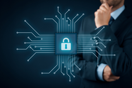it: Information technology devices security concept. Businessman think about IT security - button with padlock icon in simplified design of chip connected with abstract devices represented by points.