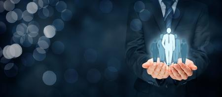 Chef d'équipe, influenceur, leader d'opinion, chef de la direction, leader du marché et d'autres concepts de premier plan.