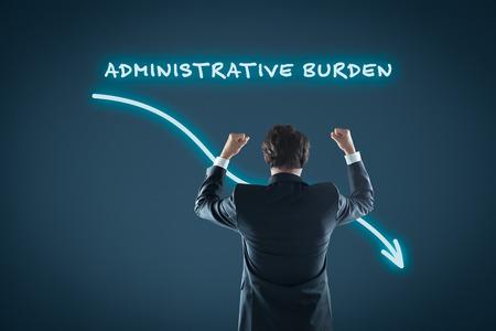 Administrative burden reduction concept. Businessman celebrate administrative burden reduction.