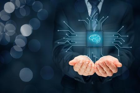 La inteligencia artificial (AI), minería de datos, software de sistema experto, la programación genética, aprendizaje automático, redes neuronales, las nanotecnologías y otros conceptos modernos de tecnologías. Foto de archivo - 71128387