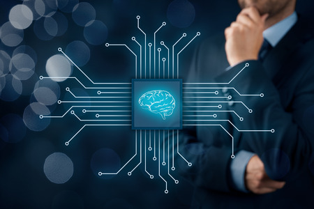 Artificial intelligence (AI), data mining, expert system software, genetic programming, machine learning, neural networks, nanotechnologies and another modern technologies concepts. Banque d'images