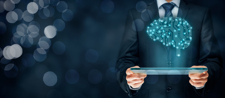 Sztuczna inteligencja (AI), data mining, ekspert oprogramowania systemowego, programowanie genetyczne, uczenie maszynowe, głębokie nauki, sieci neuronowe i kolejne nowoczesne technologie komputerowe koncepcje. Mózg reprezentujący sztucznej inteligencji z boa drukowanych