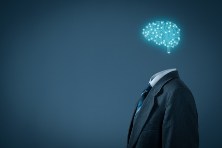 Artificial intelligence (AI), data mining, expert system software, genetic programming, machine learning, deep learning, neural networks and another modern computer technologies concepts. Brain representing artificial intelligence with printed circuit boa