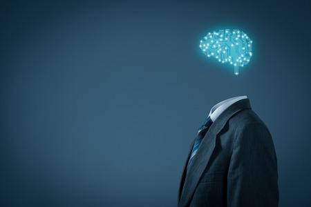 aprendizaje: La inteligencia artificial (AI), minería de datos, software de sistema experto, la programación genética, la máquina de aprendizaje, el aprendizaje profundo, redes neuronales y otras tecnologías informáticas modernas conceptos. Cerebro que representa la inteligencia artificial con la boa de circuitos impresos Foto de archivo