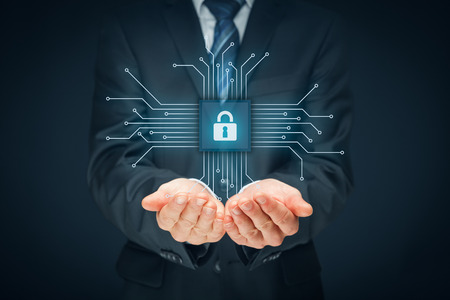 Information technology devices security concept. Businessman offer IT security service - button with padlock icon in simplified design of chip connected with abstract devices represented by points.