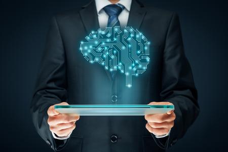 La inteligencia artificial (AI), minería de datos, software de sistema experto, la programación genética, la máquina de aprendizaje, el aprendizaje profundo, redes neuronales y otras tecnologías informáticas modernas conceptos. Cerebro que representa la inteligencia artificial con la boa de circuitos impresos