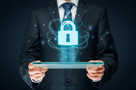 Cybersecurity and information technology security services concept. Login or sign in internet concepts. Foto de archivo
