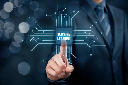 기계 학습 데이터 분석 개념입니다. 텍스트 기계와 칩의 추상적 인 기호 사업가 또는 프로그래머는 점으로 표시되는 데이터와 연결 학습.